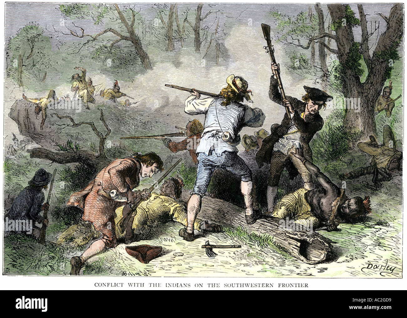 Colonists conflict with Native Americans on the Georgia and Carolina frontier 1700s. Hand-colored woodcut - Stock Image
