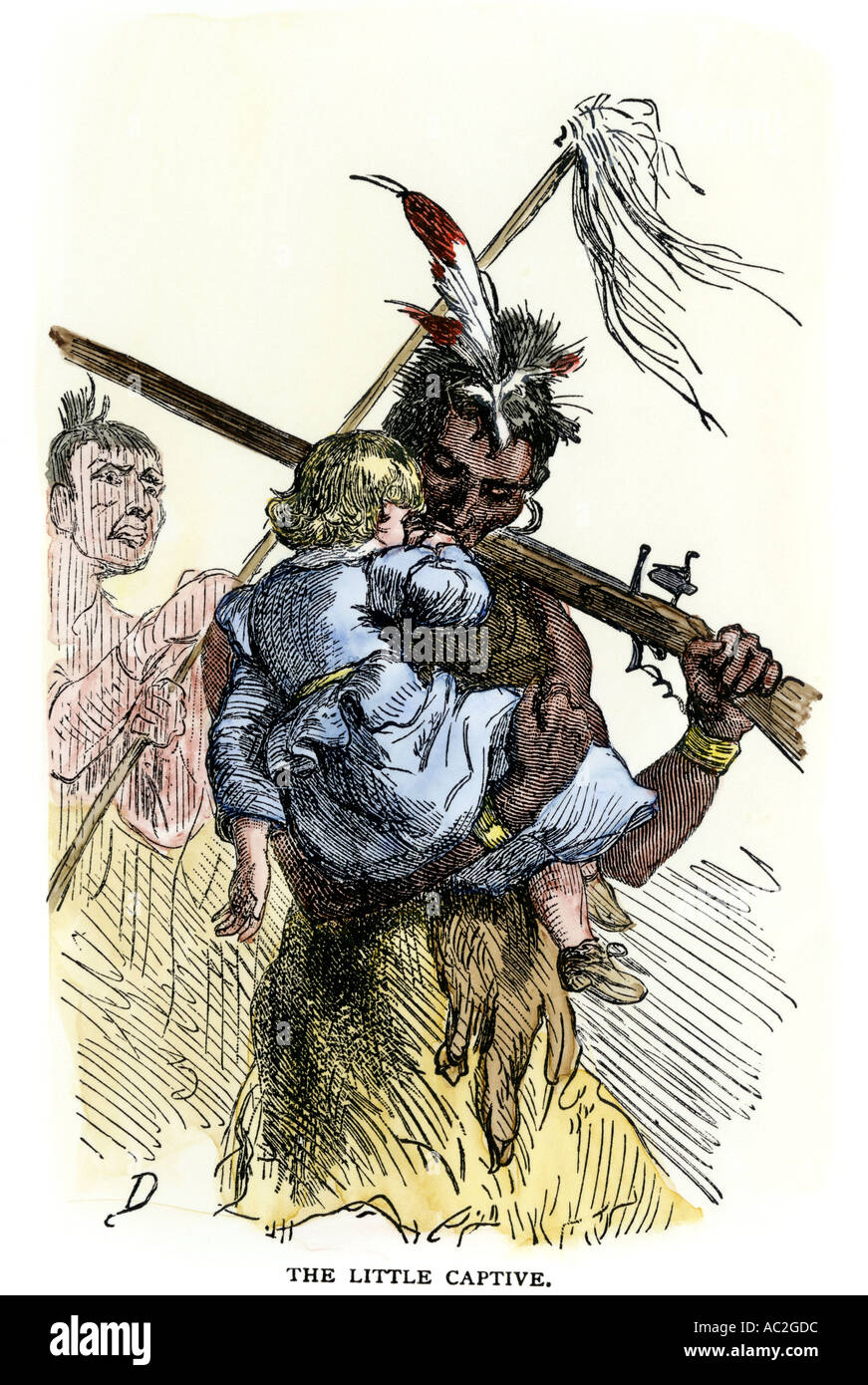 White child carried away during Native American conflict with settlers. Hand-colored woodcut - Stock Image
