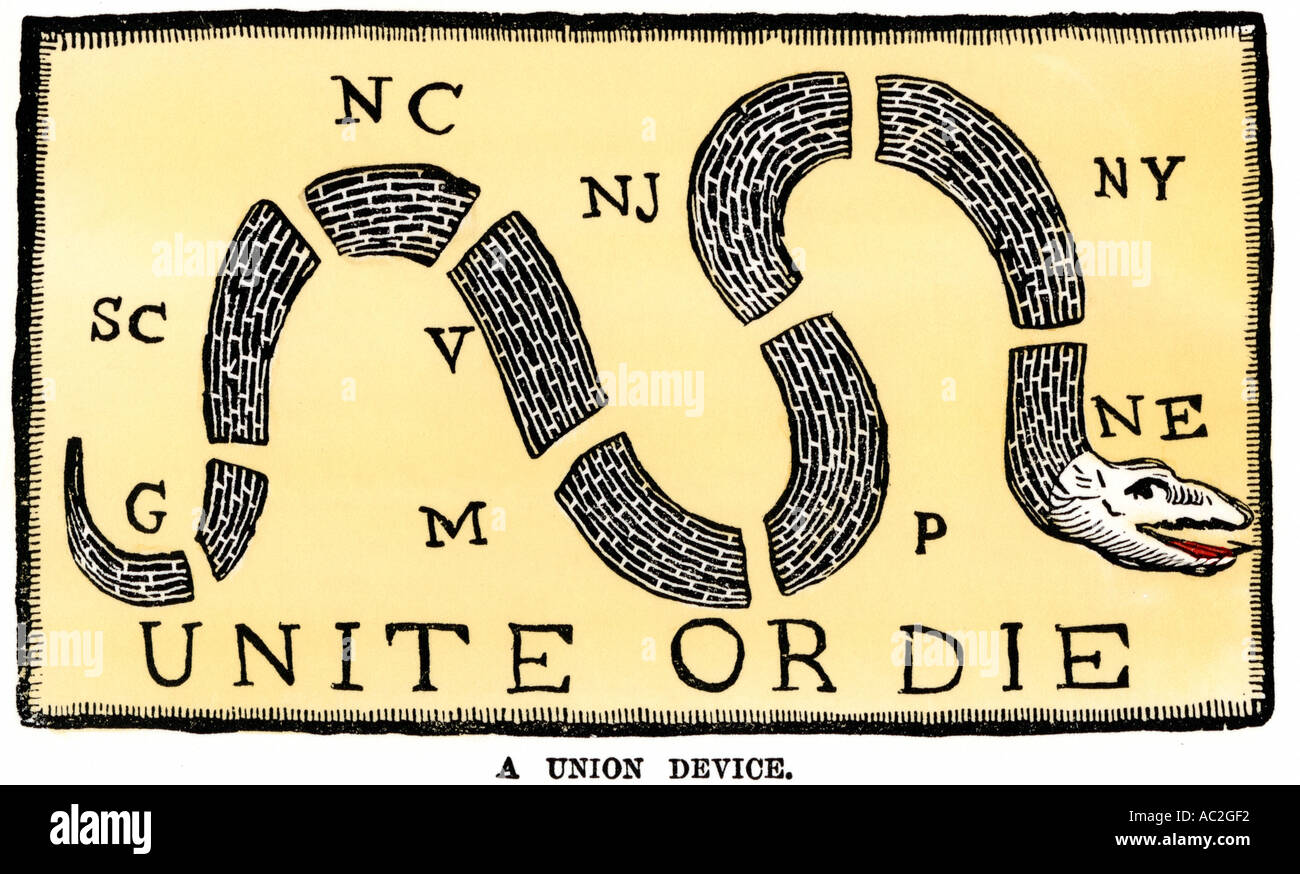 Unite or Die snake a plea for American colonies opposition to British policies 1750s. Hand-colored woodcut - Stock Image