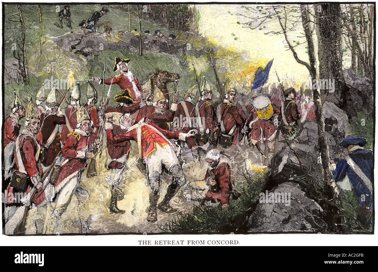 British army retreating from Battle of Concord under fire from colonial Minutemen in ambush 1775. Hand-colored woodcut of a Howard Pyle illustration - Stock Image