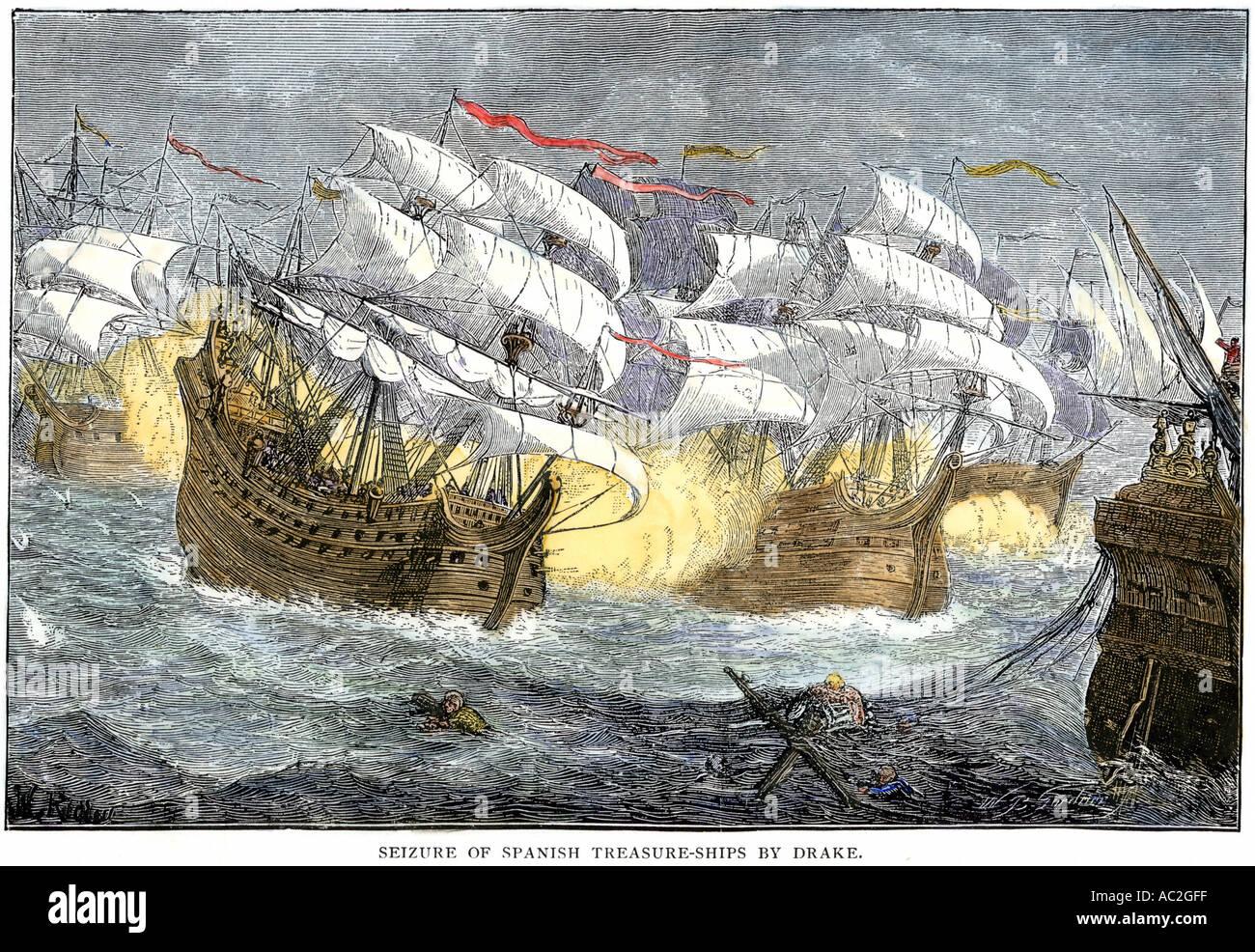 Seizure of Spanish treasure ships by the English fleet of Sir Francis Drake. Hand-colored woodcut - Stock Image
