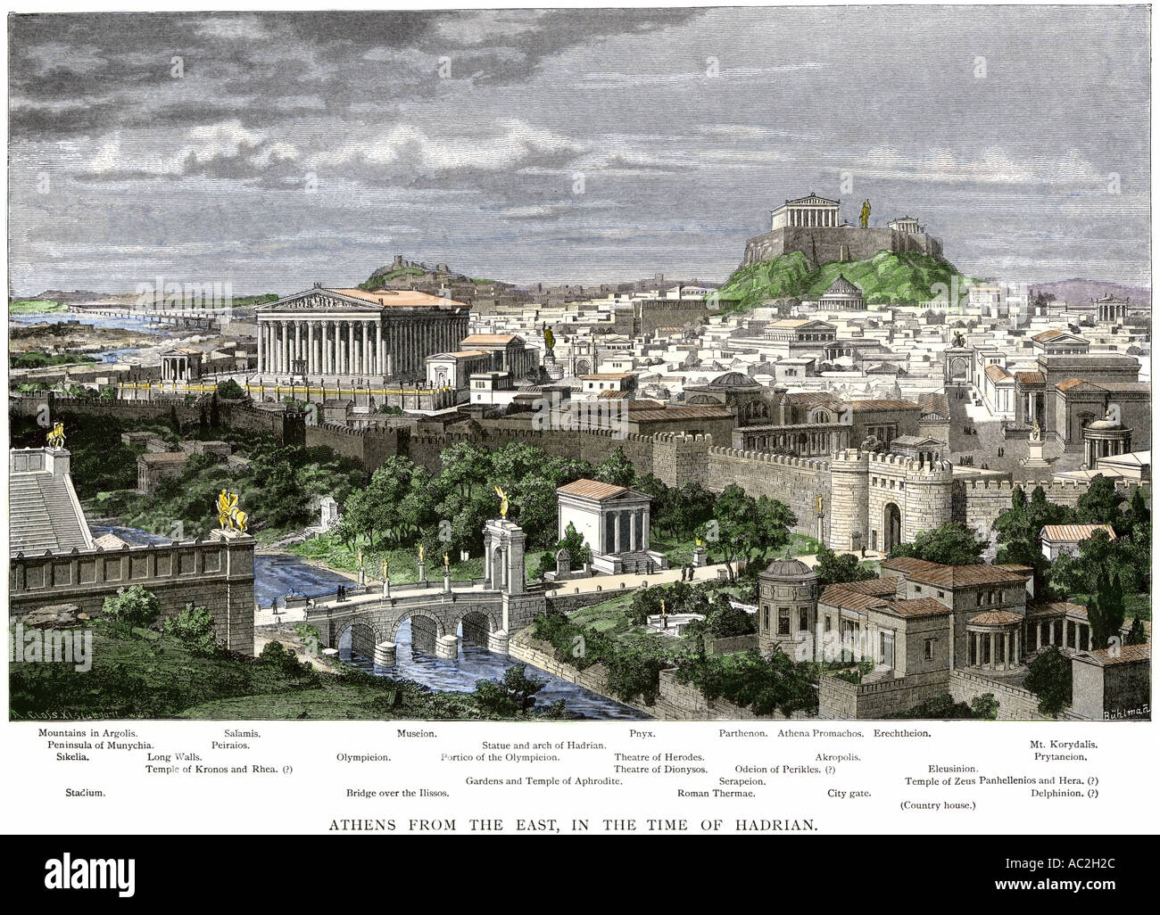 Athens viewed from the east in the time of Hadrian. Hand-colored woodcut - Stock Image
