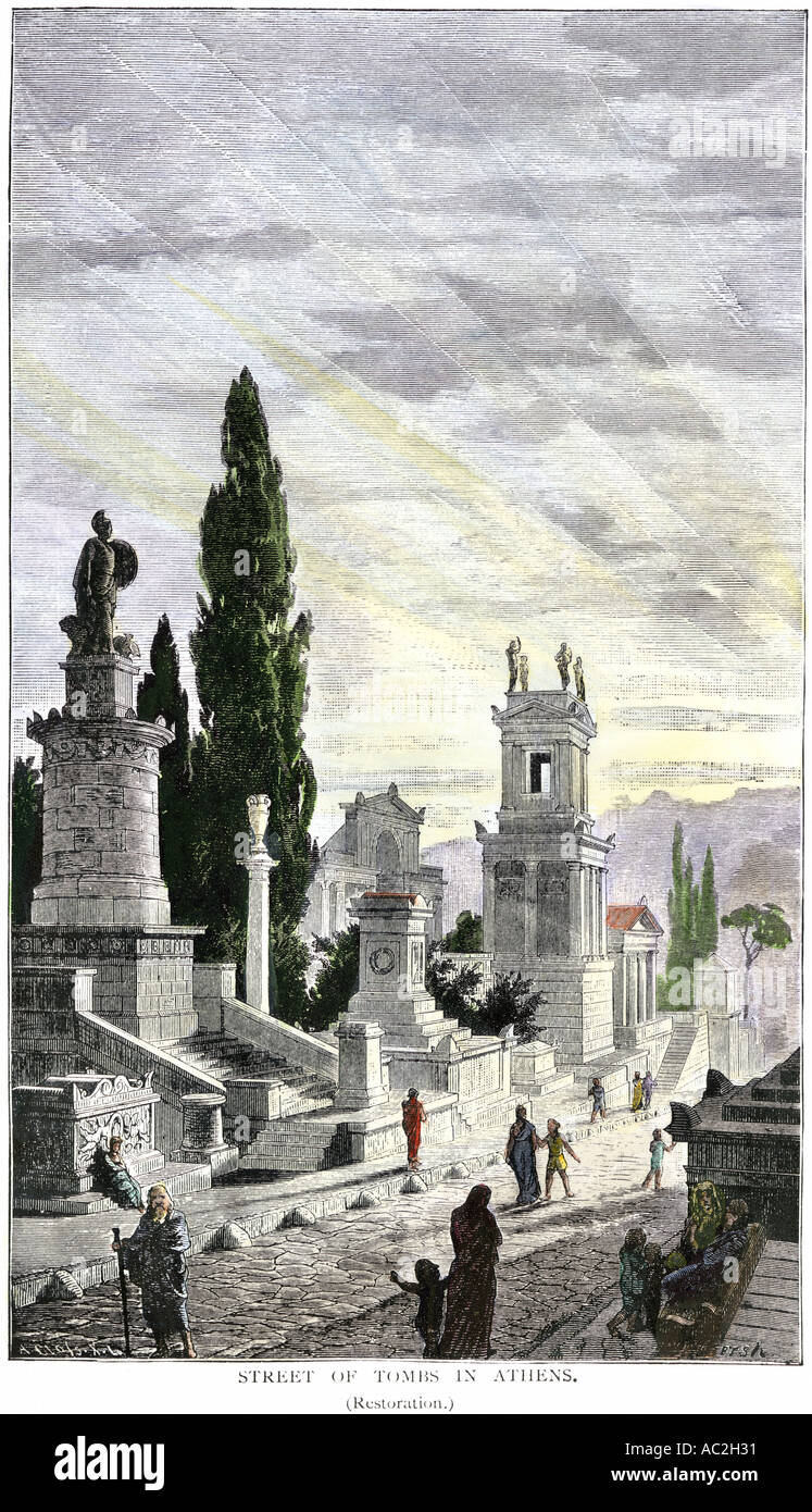 Street of Tombs in ancient Athens. Hand-colored woodcut - Stock Image