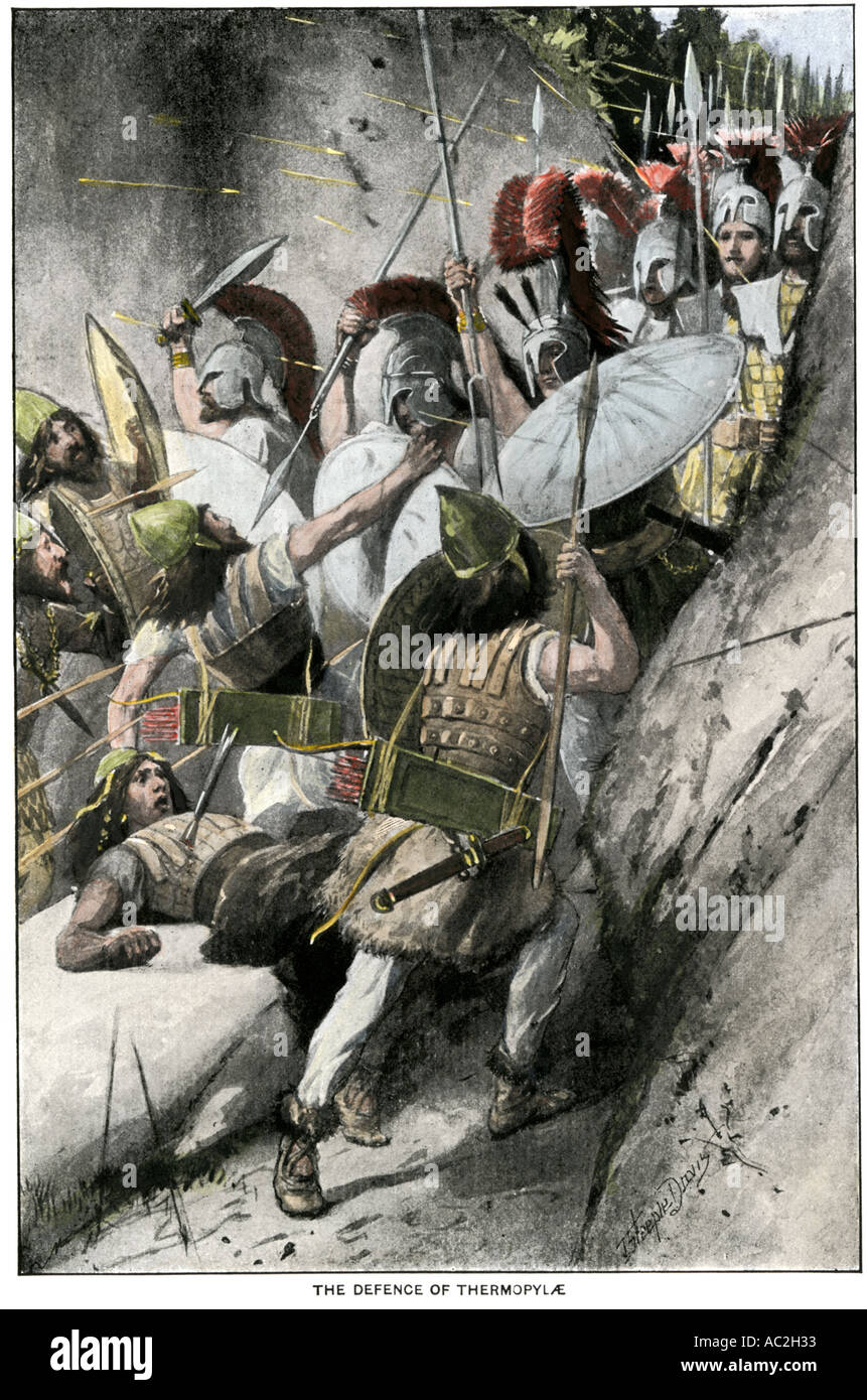 Greek army holding off the Persian invasion at Pass of Thermopylae 480 BC. Hand-colored halftone of an illustration - Stock Image