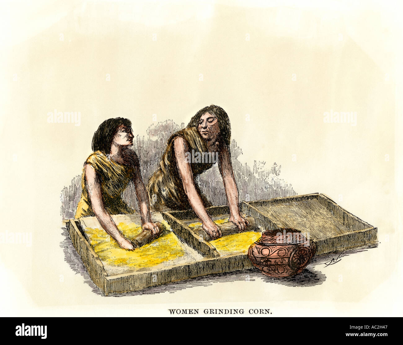 Anasazi Ancestral Puebloan women grinding corn maize between stones. Hand-colored woodcut - Stock Image