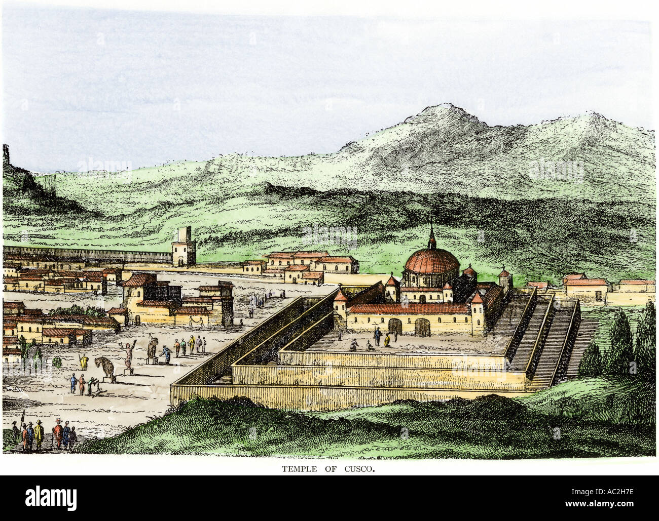 Incan Temple of the Sun in Cuzco Peru 1500s. Hand-colored woodcut - Stock Image