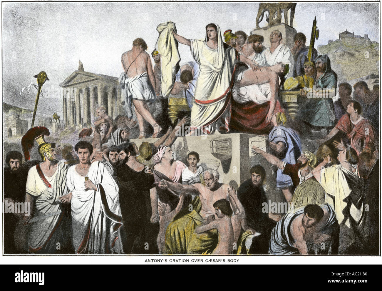 Marc Antony oration over the body of Julius Caesar ancient Rome. Hand-colored halftone of an illustration - Stock Image