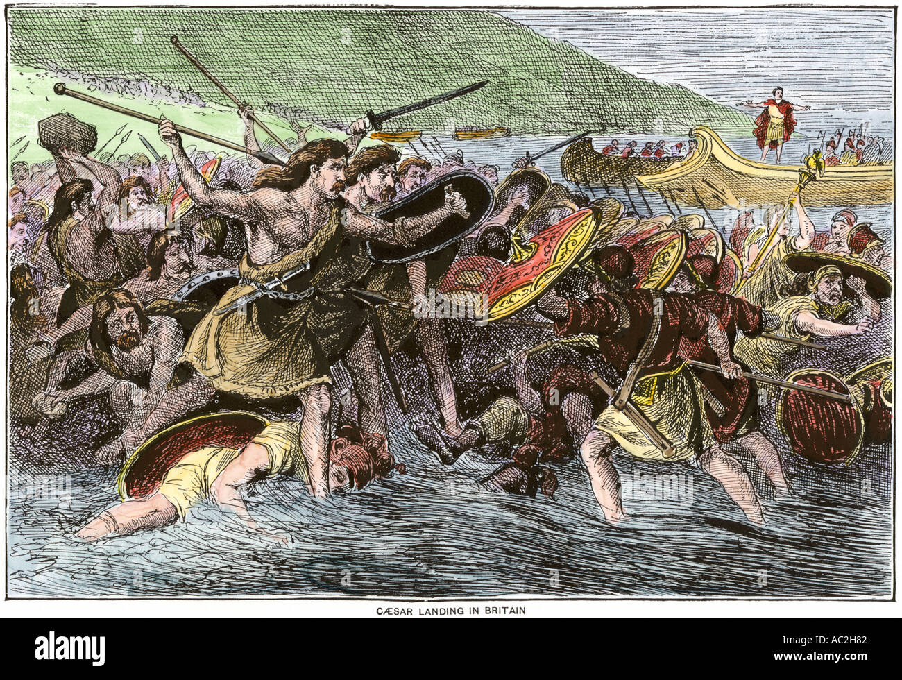 Roman army of Julius Caesar landing in Britain 55 BC. Hand-colored woodcut - Stock Image