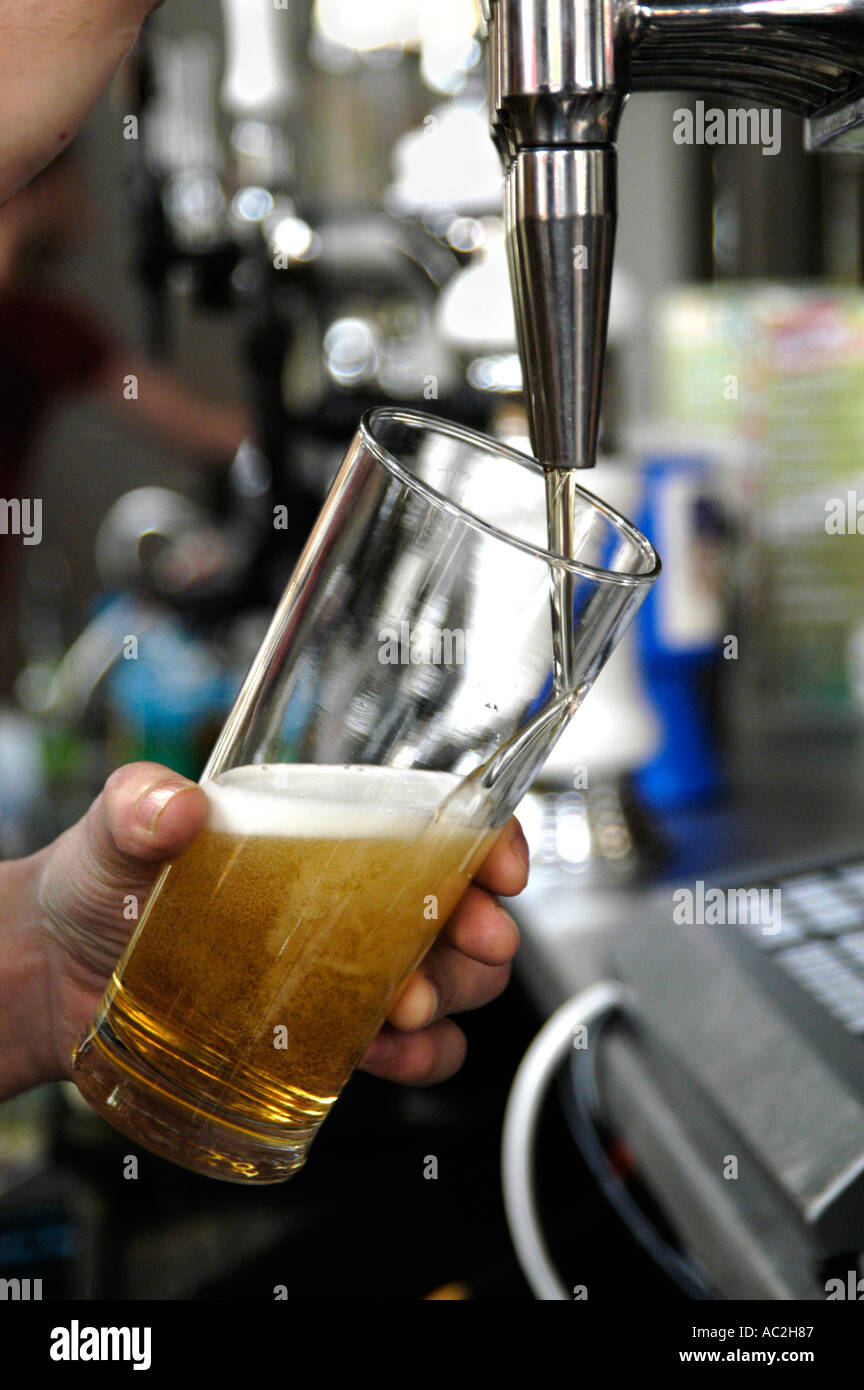 Pub barman pulling a pint of lager, UK - Stock Image