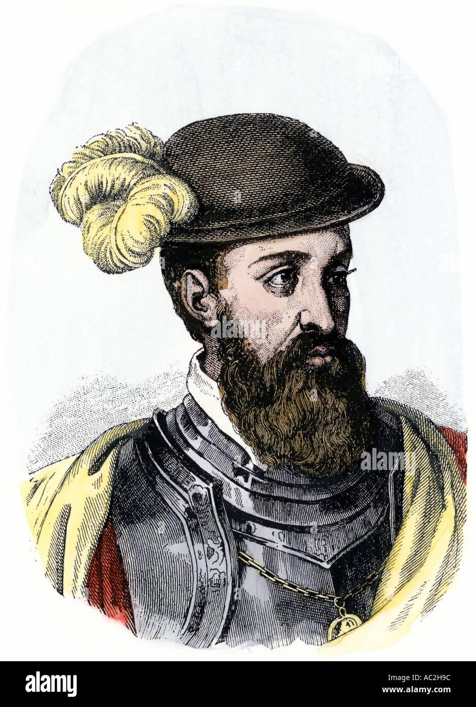spanish explorer francisco pizarro portrait hand colored woodcut