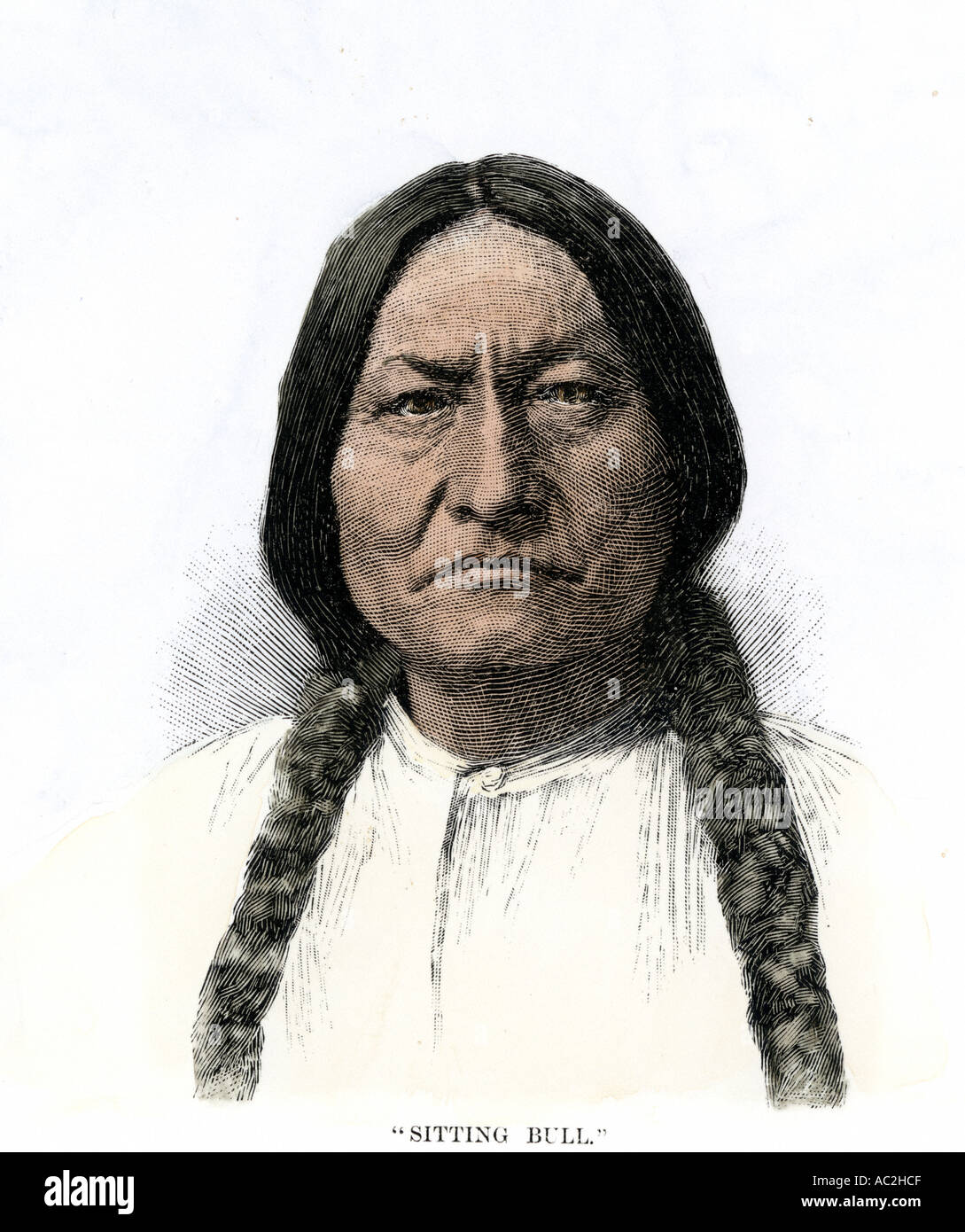 Sitting Bull or Tatanka Iyotake leader of the Sioux Nation. Hand-colored woodcut - Stock Image