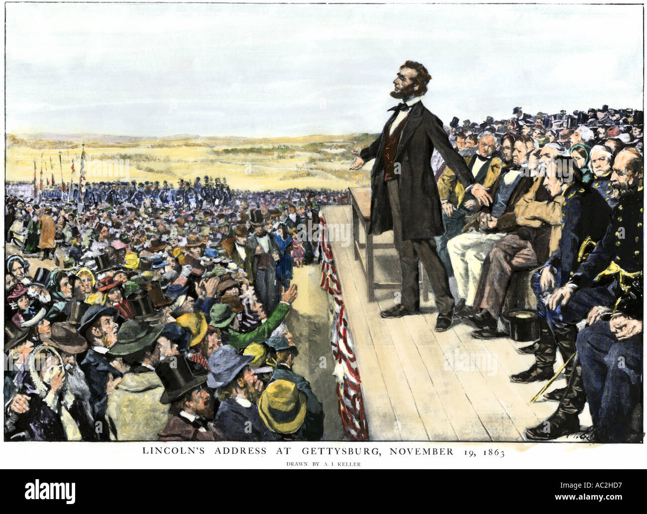 President Abraham Lincoln delivering the Gettysburg Address commemorating the battlefield 1863. Hand-colored halftone Stock Photo