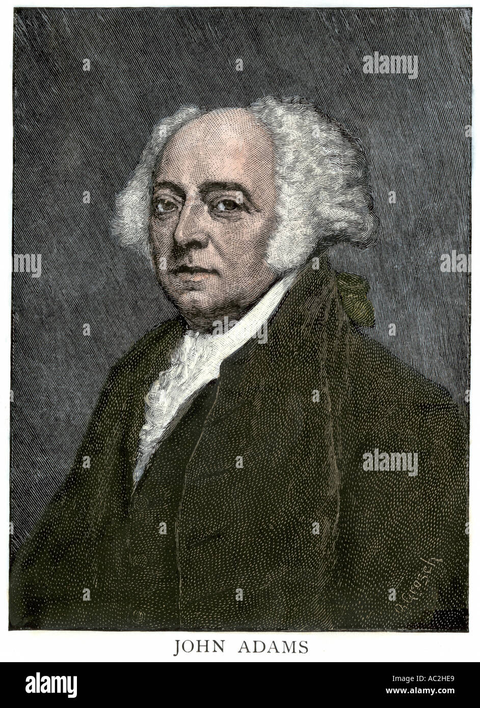 John Adams. Hand-colored woodcut - Stock Image