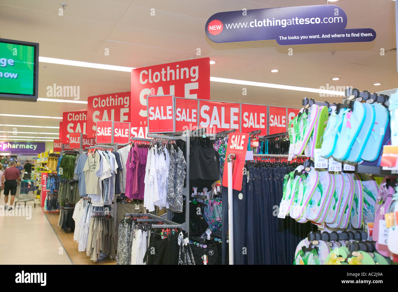 25258c34acdb Tesco clothing range for sale in a Tescos supermarket Stock Photo ...