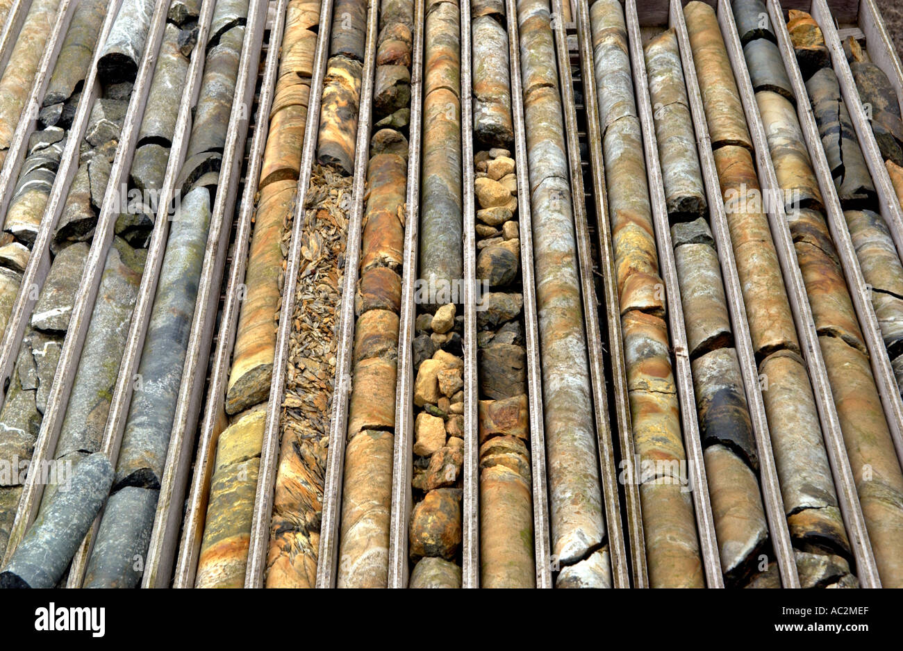 Cores from exploratory drilling at Parys Mountain copper mine which has been worked since Bronze Age on Anglesey Stock Photo