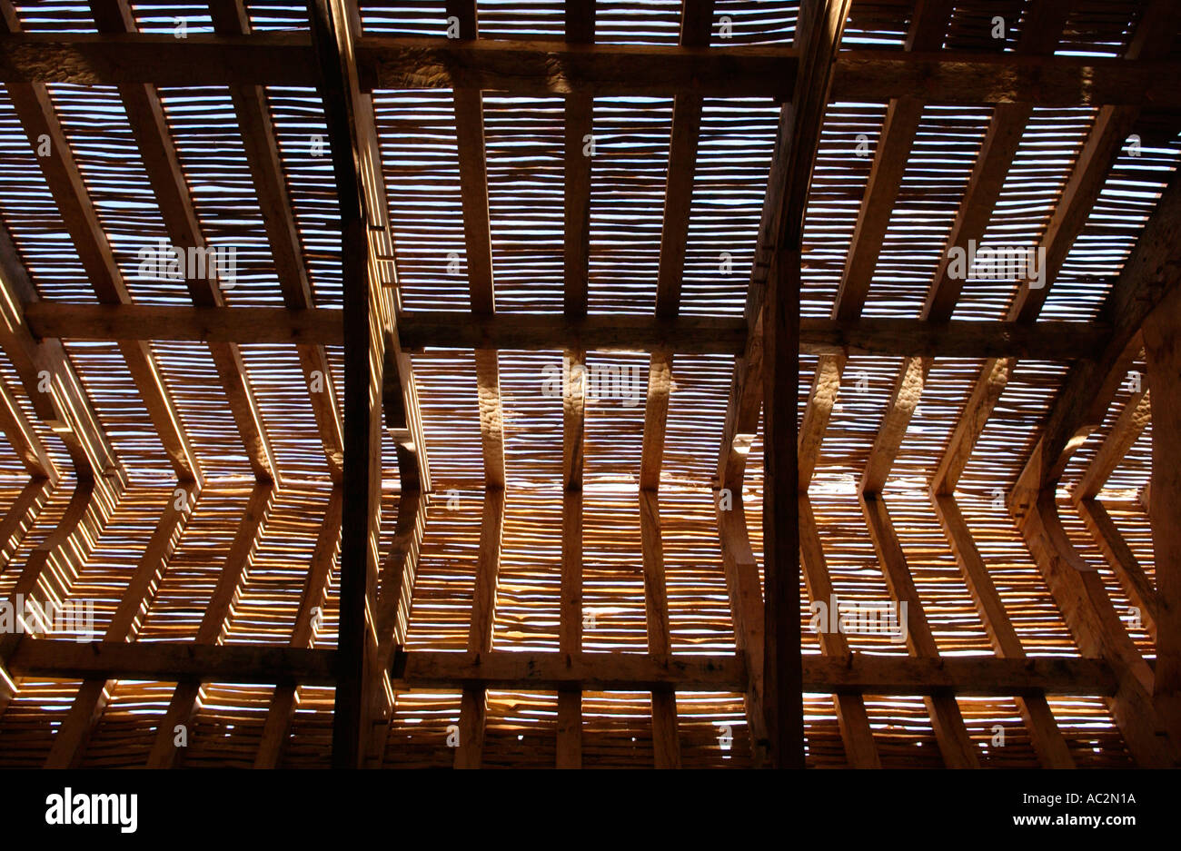 Internal roof structure of the 13th century St Teilos Church rebuilt at National Museum of Welsh Life St Fagans Cardiff Wales UK - Stock Image