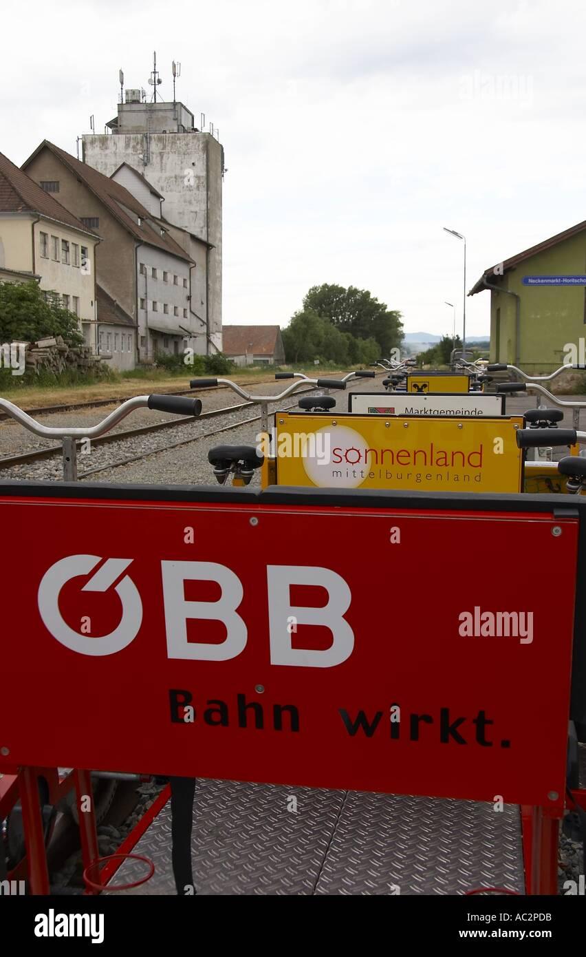 handcar / ÖBB - Bahn wirkt / Austrian Federal Railways / railway crisis / economy measures - Stock Image