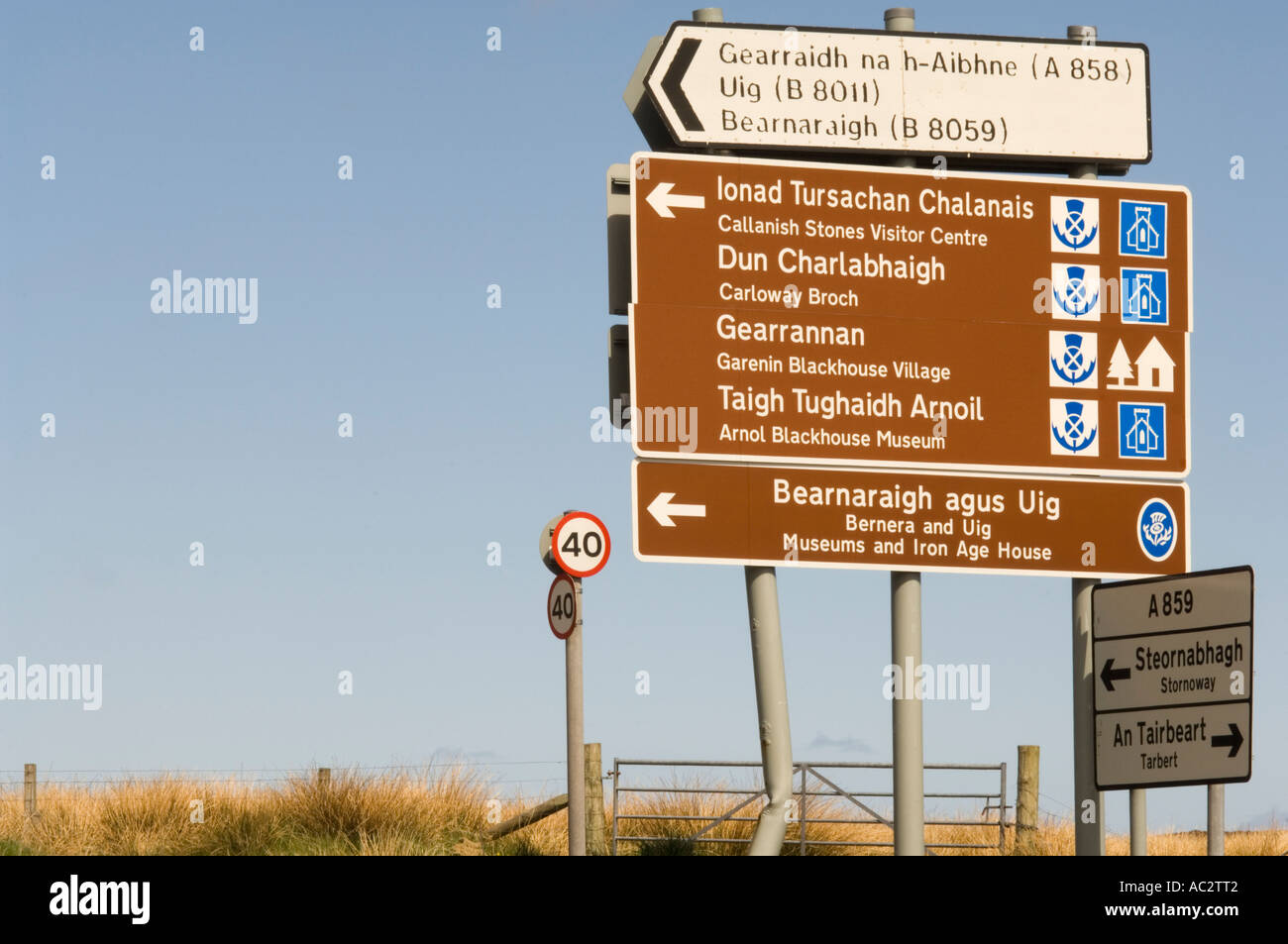 Road directions on the Isle of Lewis, Outer Hebrides, Western Isles, Scotland, UK - Stock Image