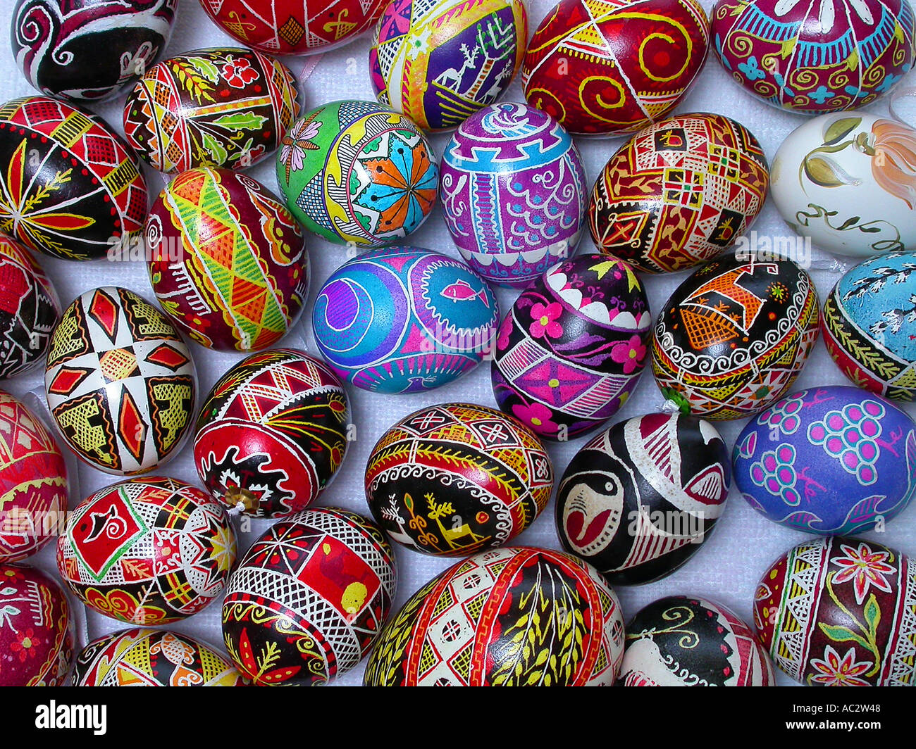 Collection of hand made painted Ukrainian Easter eggs - Stock Image