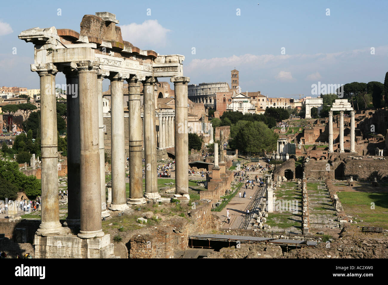 ITA, Italy, Rome : centre of the ancient Rome, buildings and ruins of the Foro Romano - Stock Image