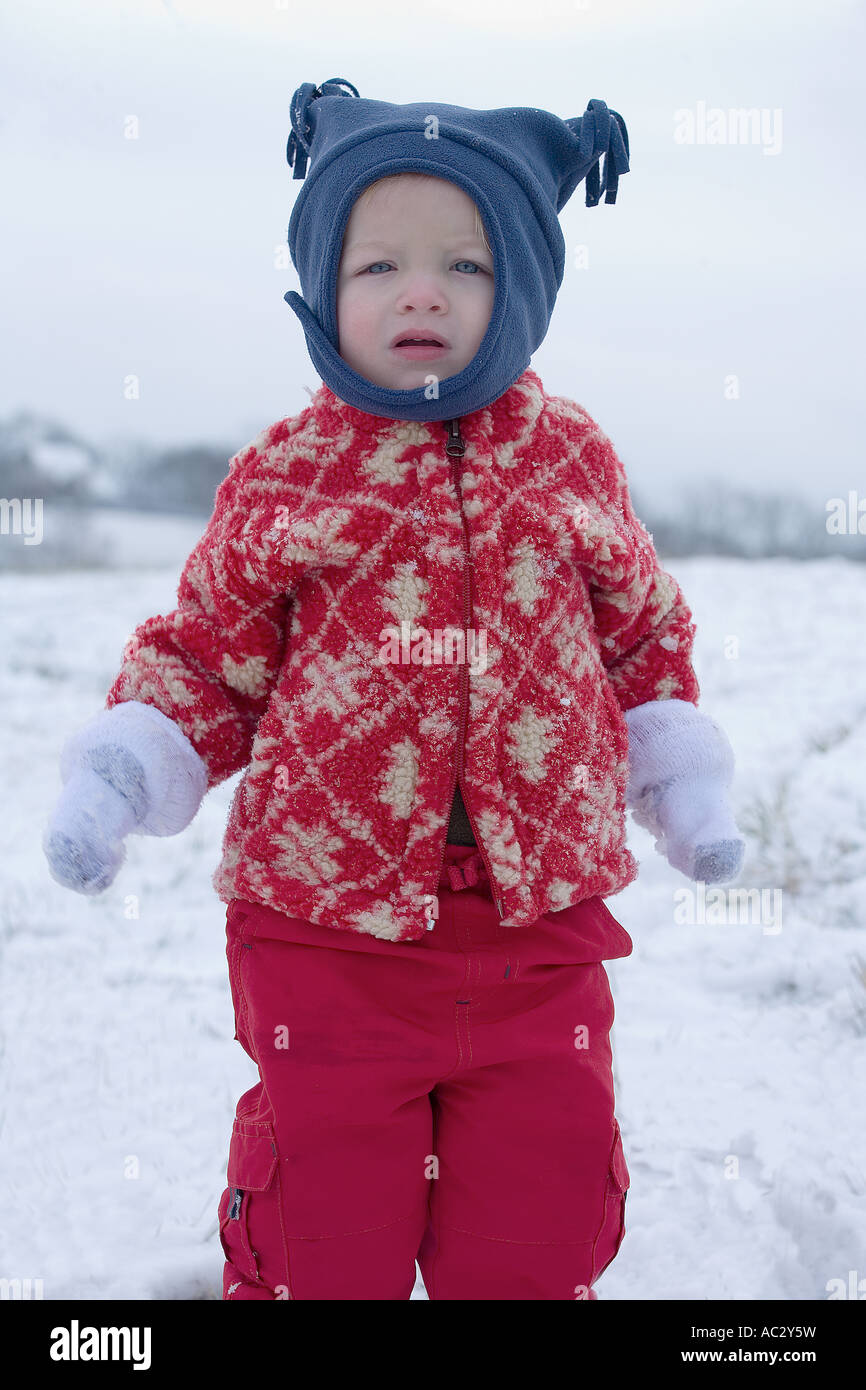 Young boy in the snow Stock Photo