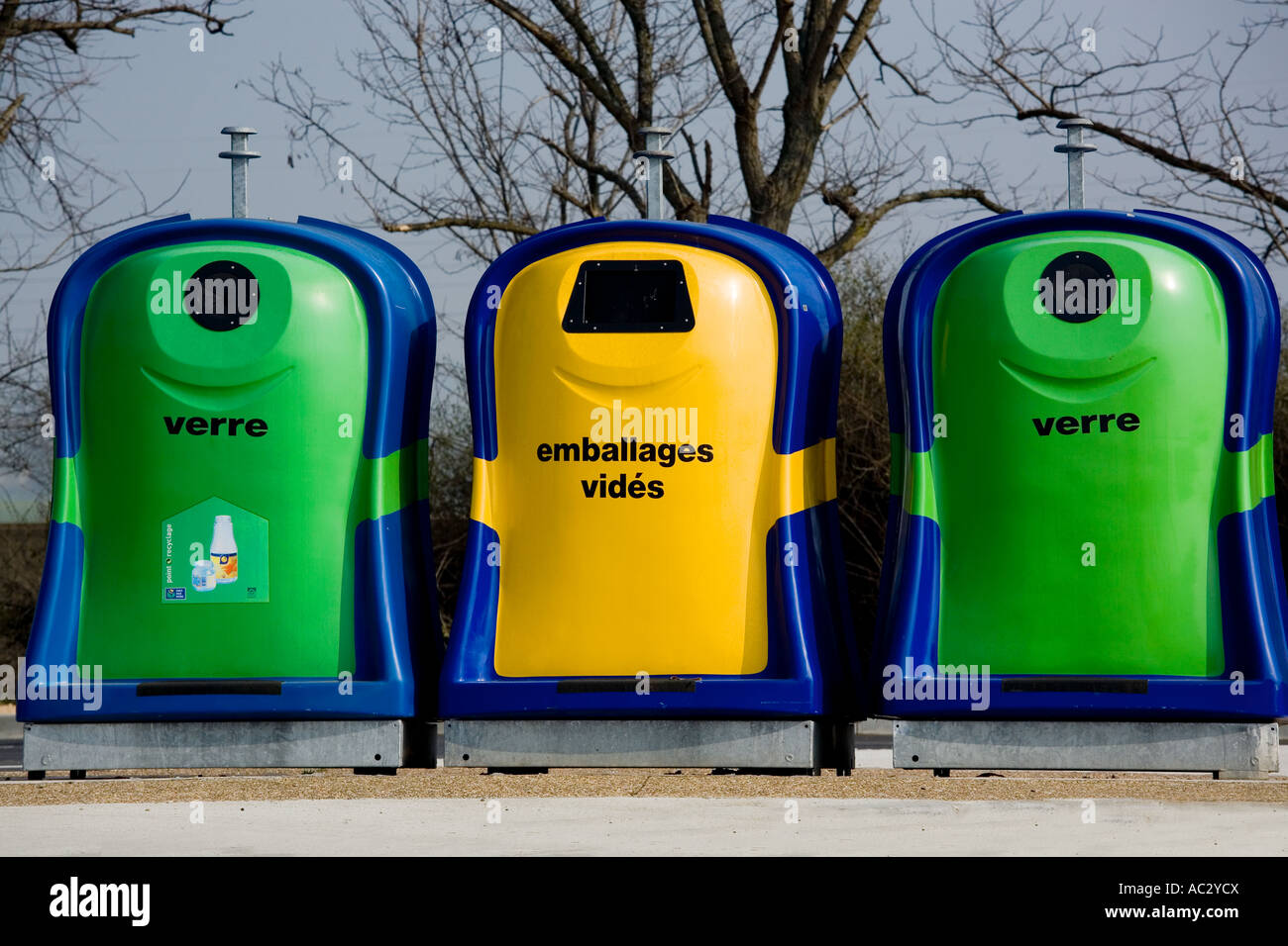 Recycling bins in France Stock Photo