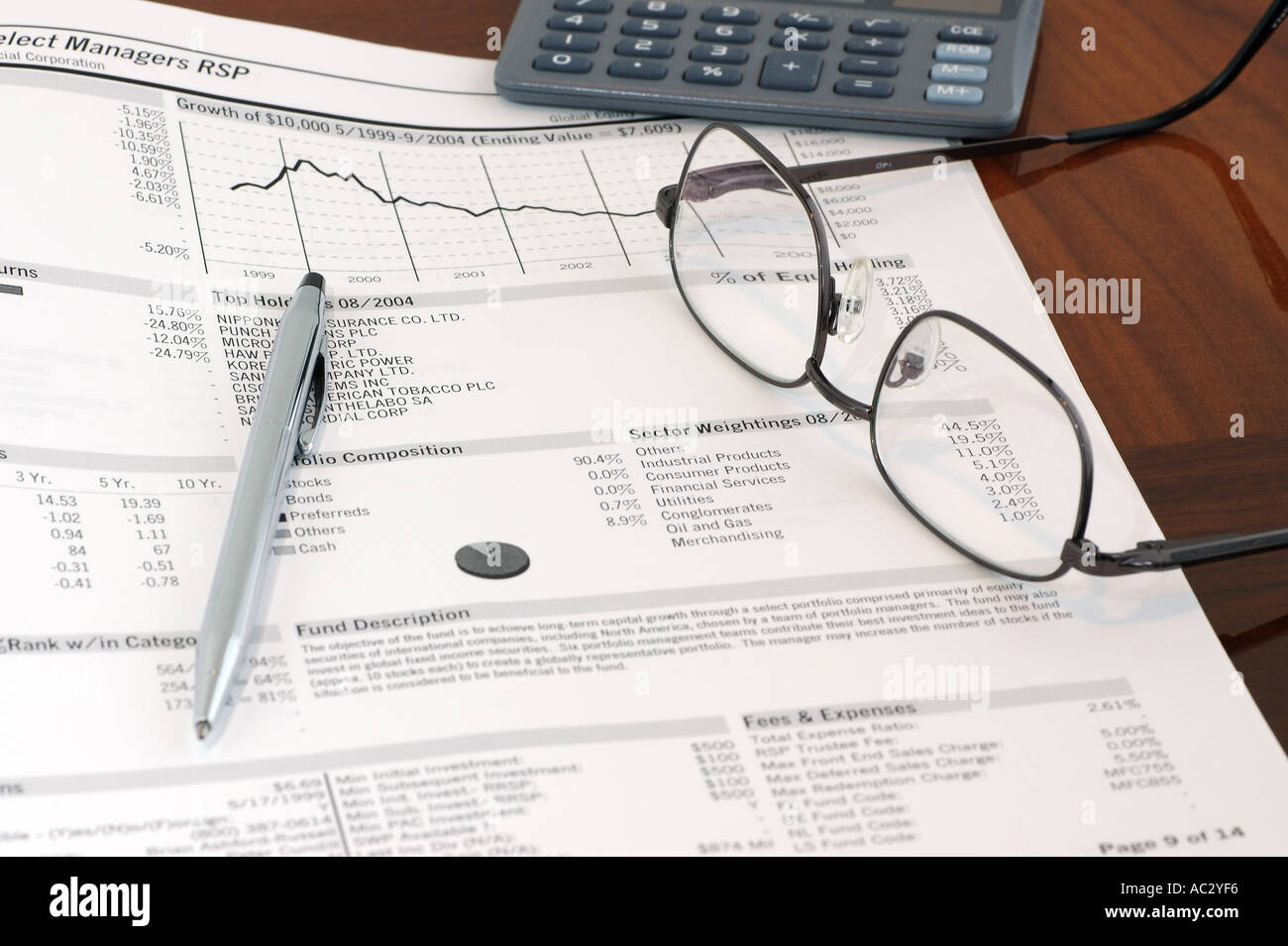 Mutual Fund Investment Evaluation With Pen Glasses And Calculator