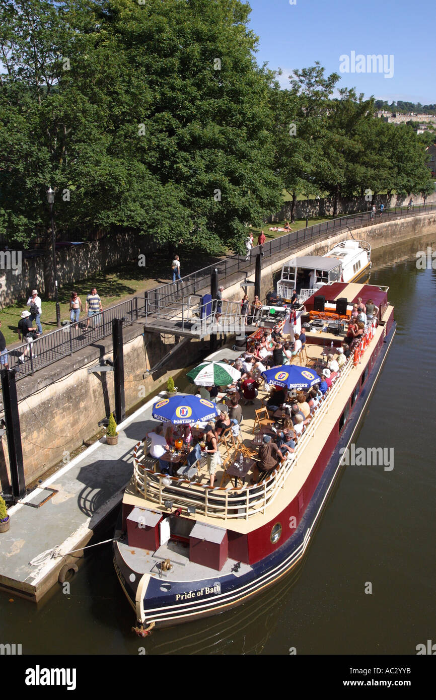 Bath England open air floating pub boat barge on the River Avon Bath Somerset England - Stock Image