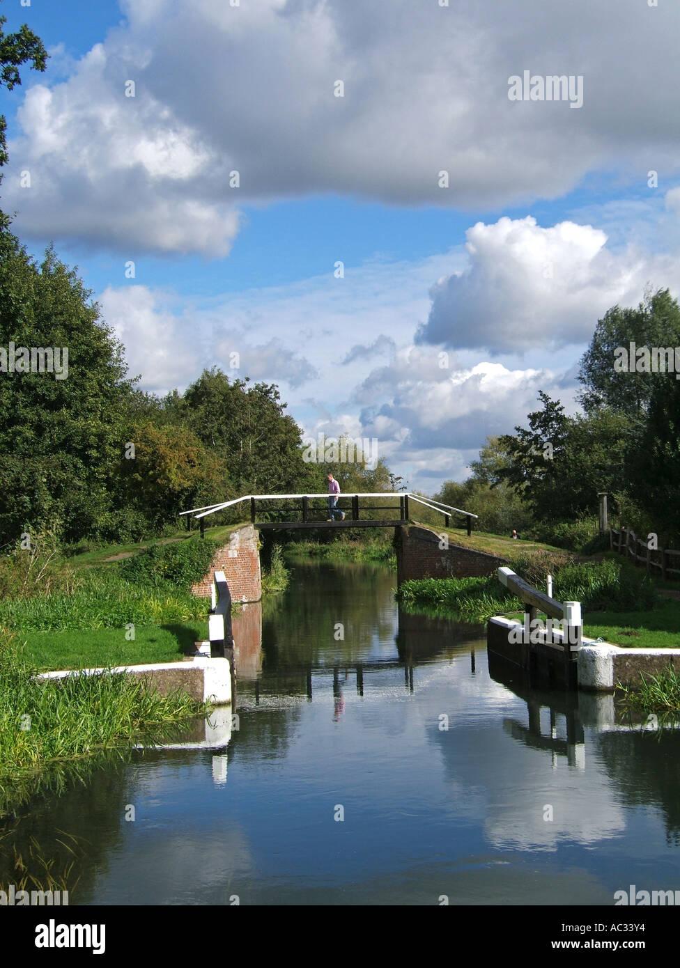 The Wey Navigations, Walsham Lock, Surrey, England - Stock Image