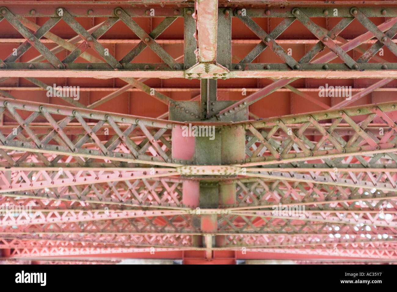 Structural support detail under the approach to the Golden Gate Bridge San Francisco California Stock Photo