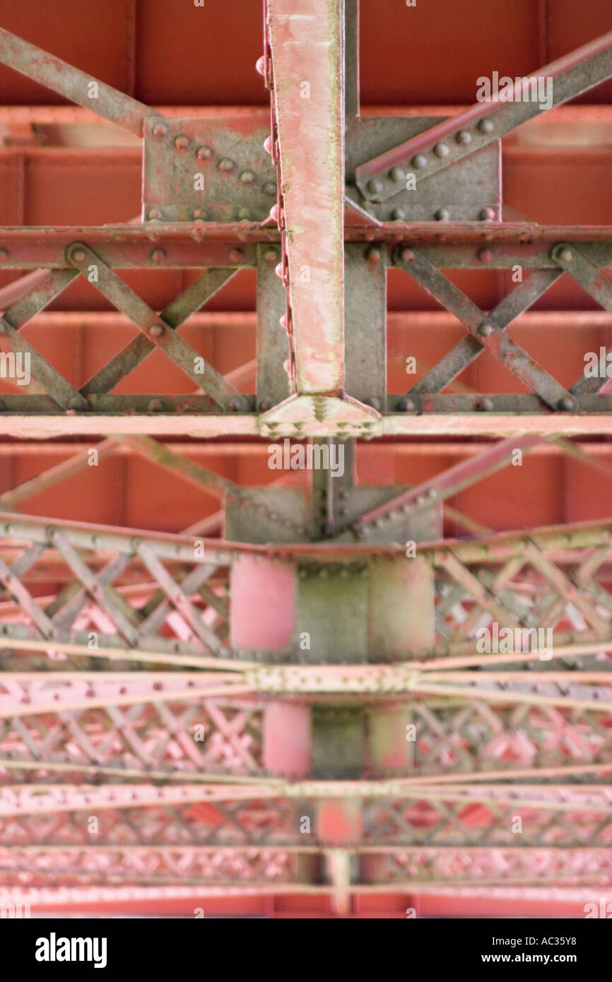 Structural support detail under the approach to the Golden Gate Bridge San Francisco CaliforniaStock Photo