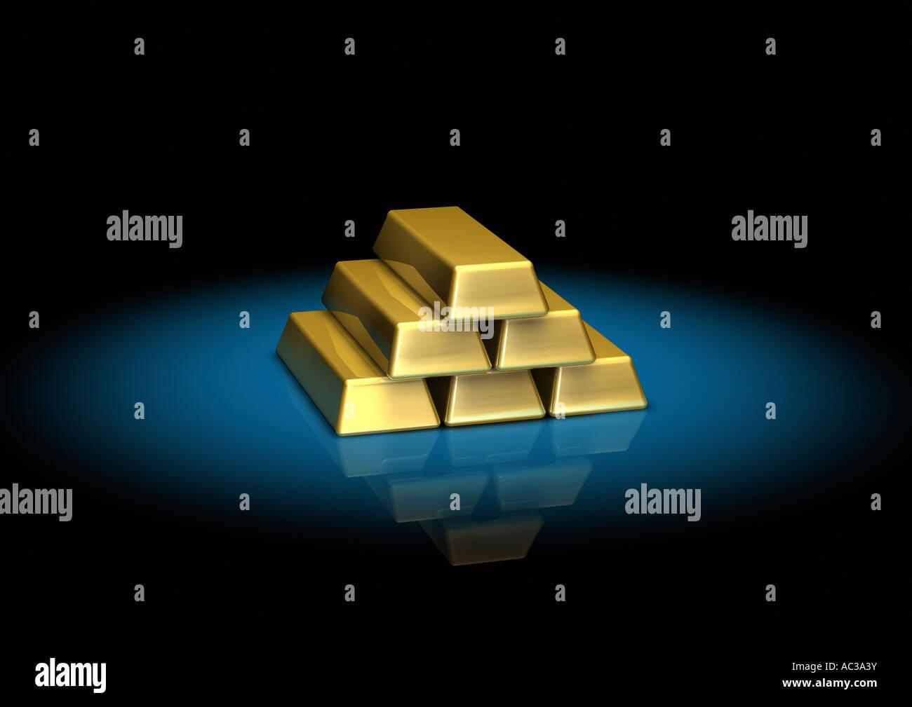 stacked gold bars Goldbarren gestapelt Haufen - Stock Image