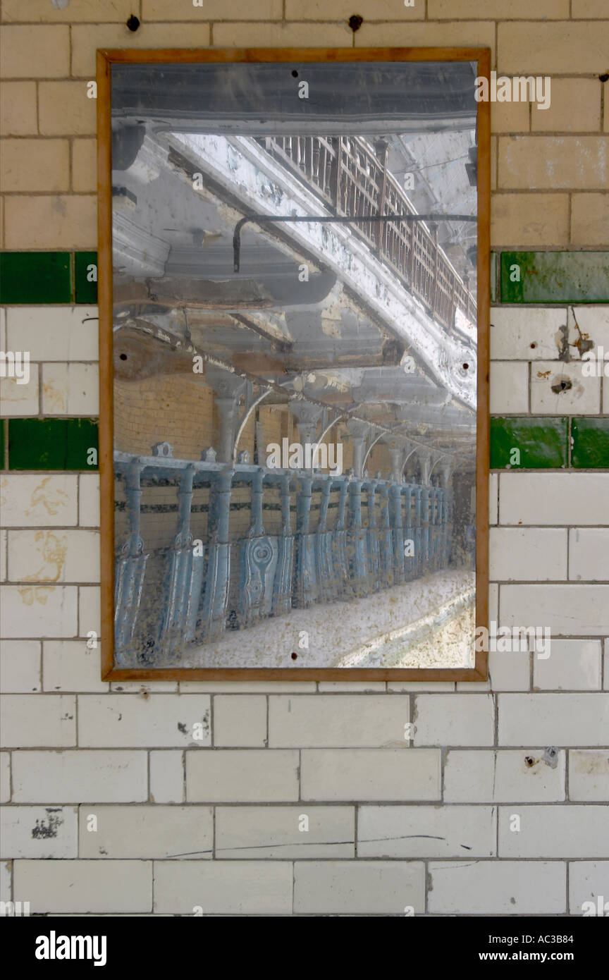 Mirror reflection Victoria Baths Manchester - Stock Image