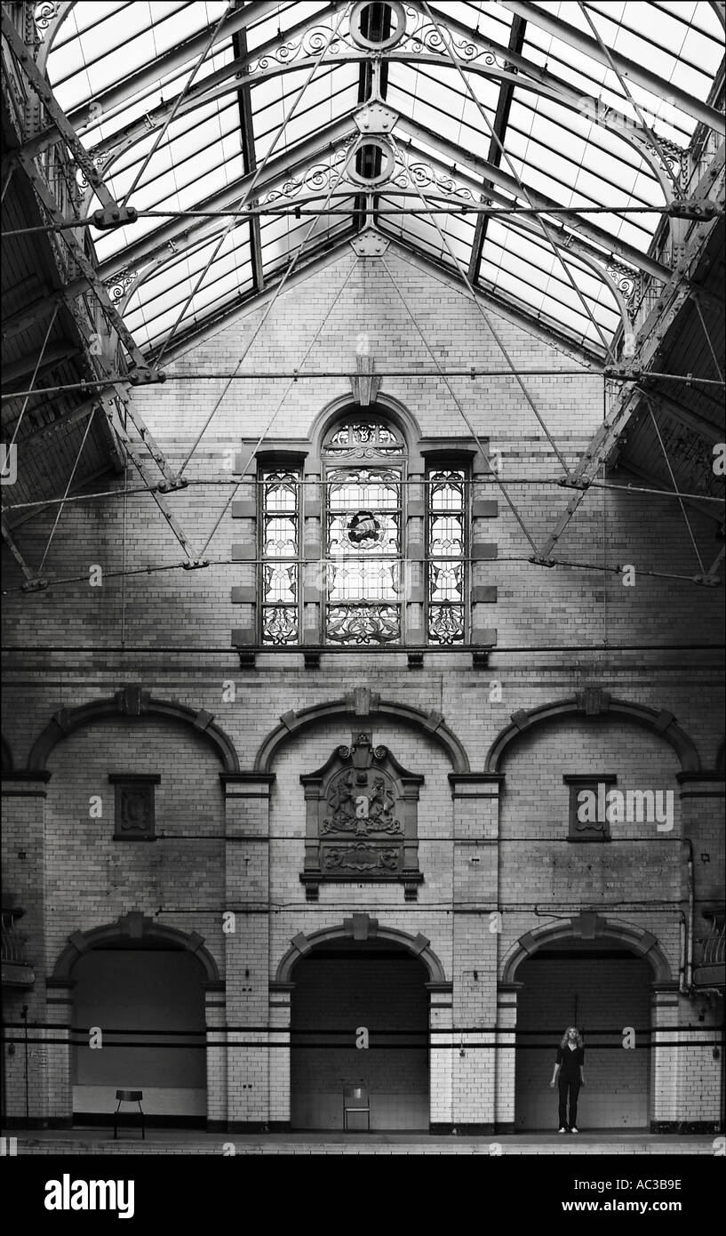 Rusholme Victoria Baths Manchester Monochrome - Stock Image