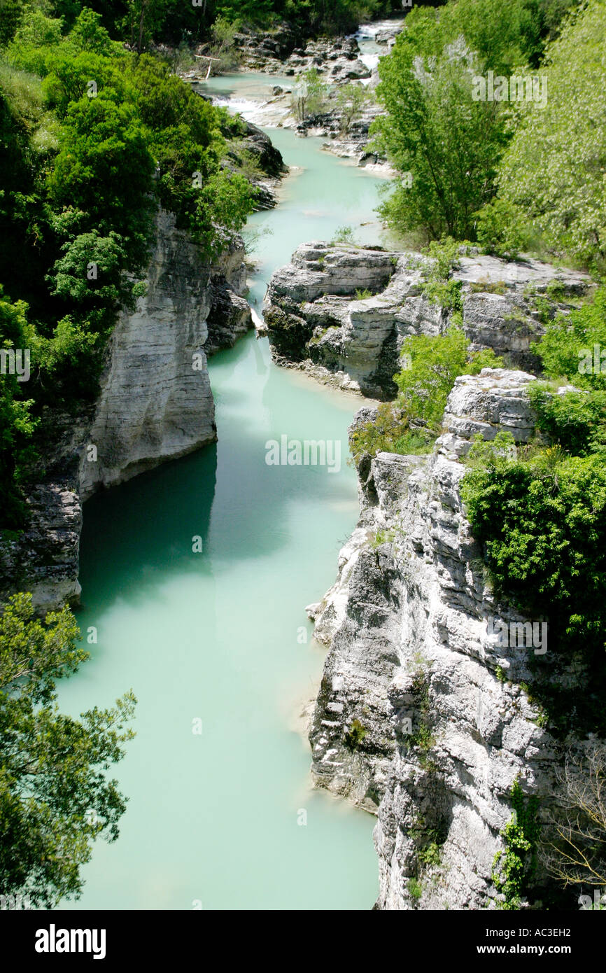 The beautiful Furlo Gorge in Le Marche Italy is a much visited beauty spot - Stock Image