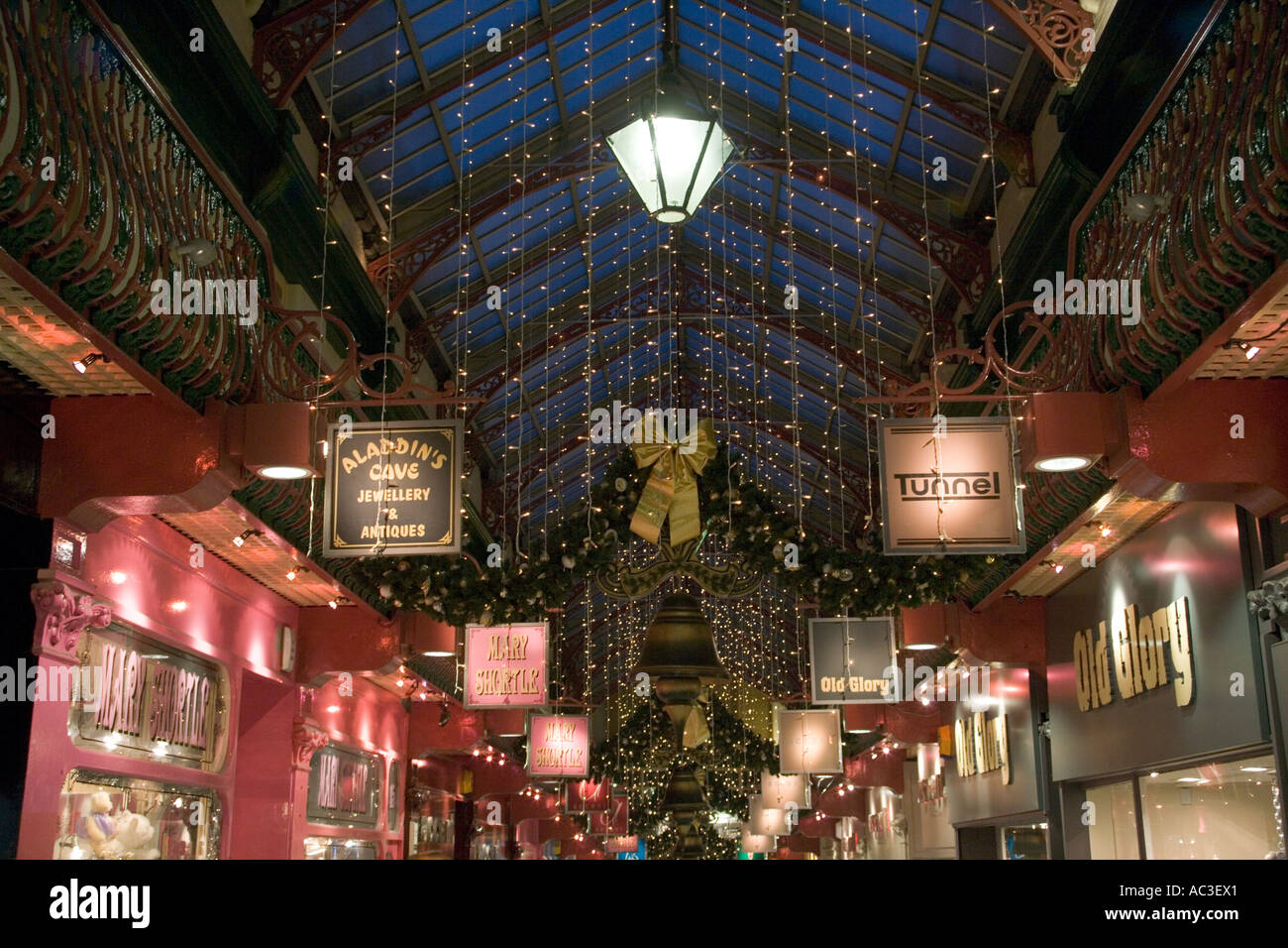 """""""Roof Detail County Arcade"""",twinkling,""""Shop Sign"""",Bell,decorate,decoration,""""gold bow"""" Stock Photo"""