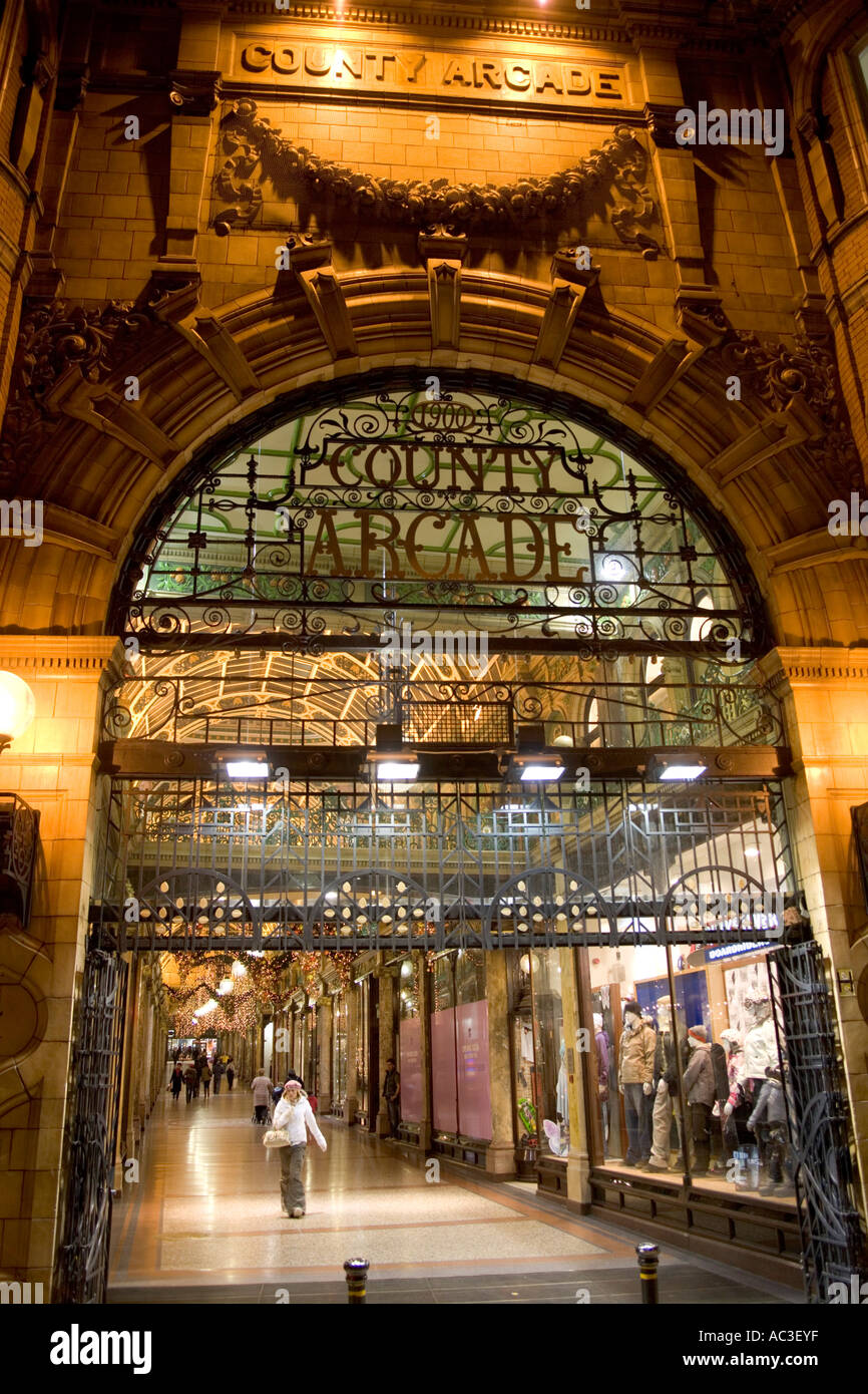The' County Arcade','Victorian Quarter',Leeds,UK,GB at 'Christmas time'. - Stock Image