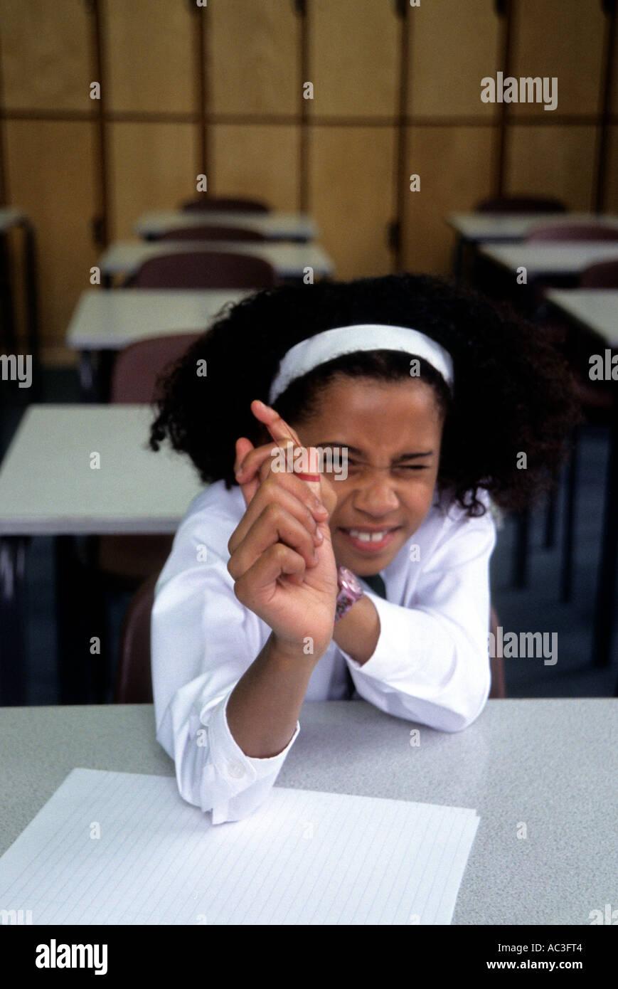 Naughtiest girl in school Stock Photo