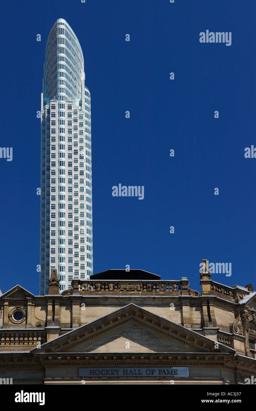 Thinnest condo highrise and hockey hall of fame Toronto - Stock Image