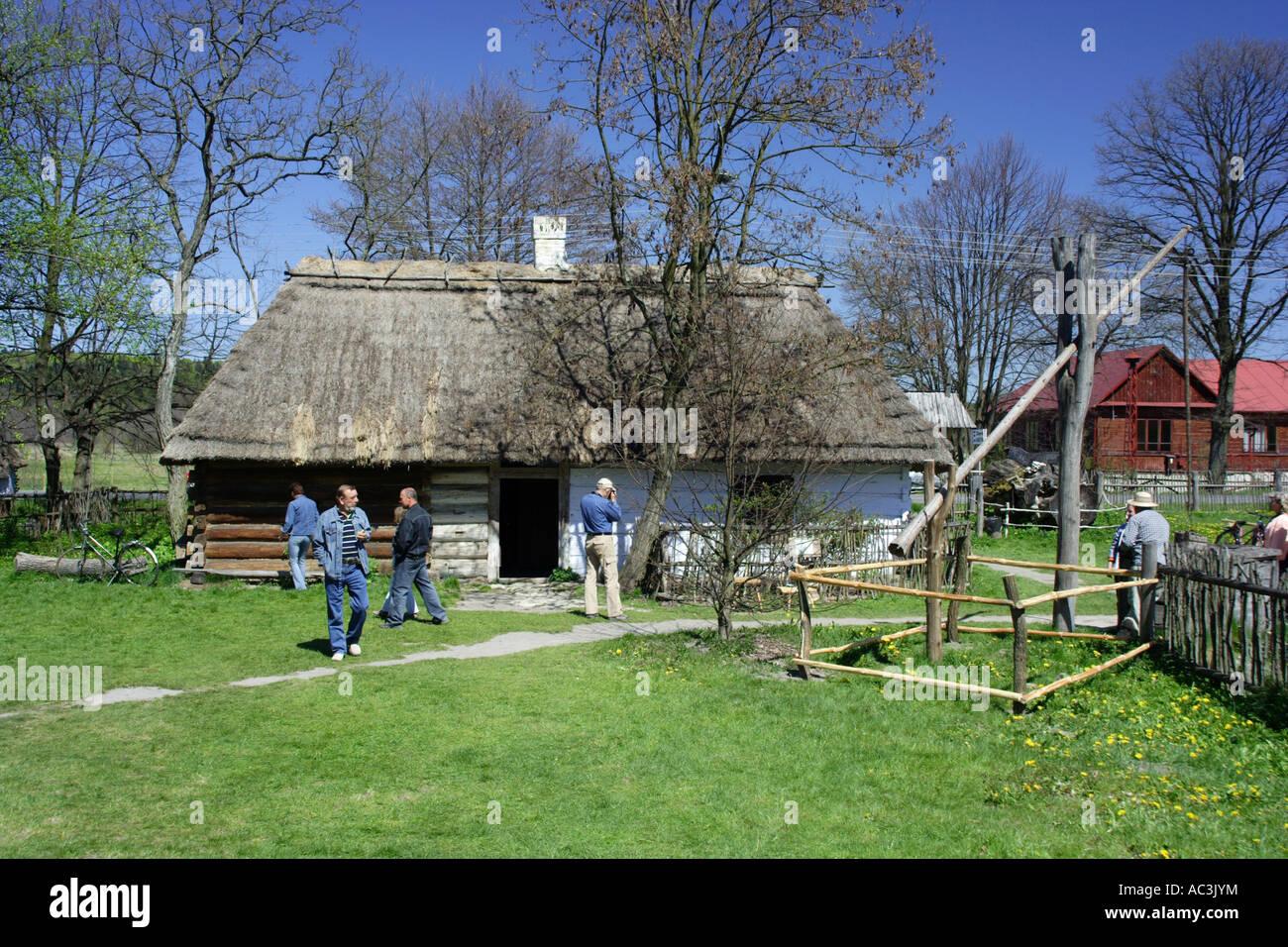 Zagroda Guciow farm open air folk museum in Roztocze region Poland Stock Photo