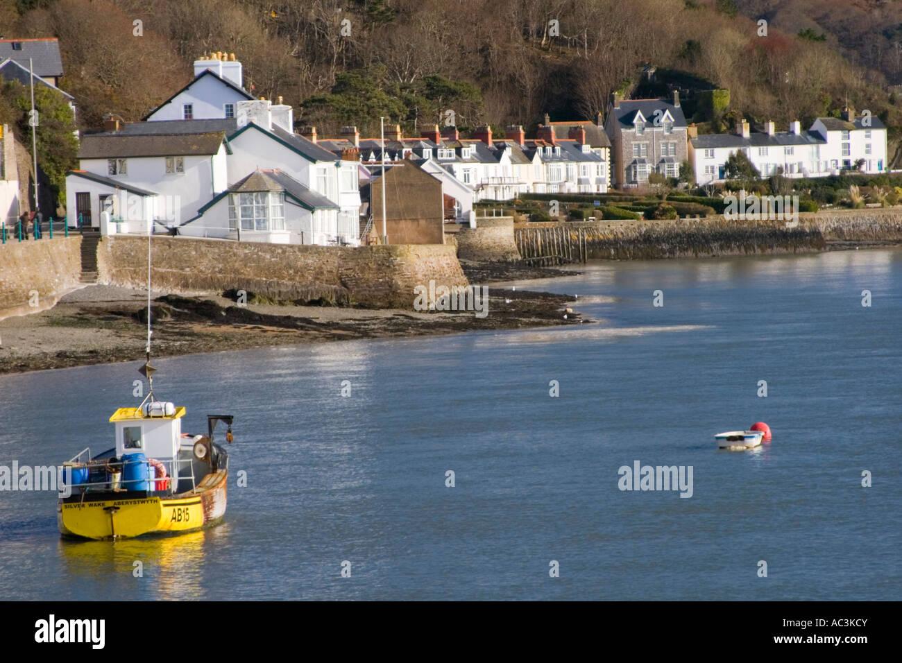 Fishing boat moored in Aberdyfi ( Aberdovey ) Gwynedd Wales Stock Photo