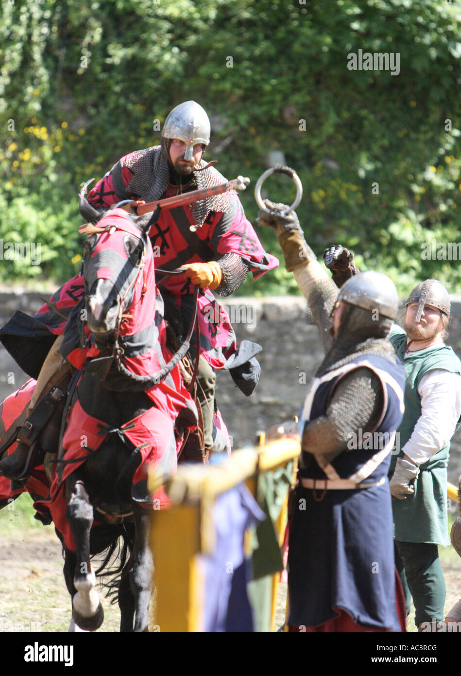 Mounted knight in lance skill competition at Koenigstein Taunus Germany knights tournament 2007 - Stock Image