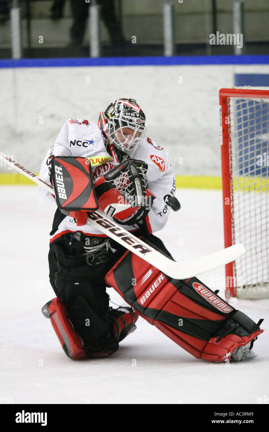 Corey Hirsch Canadian goalie in Malmo Redhawks Sweden - Stock Image