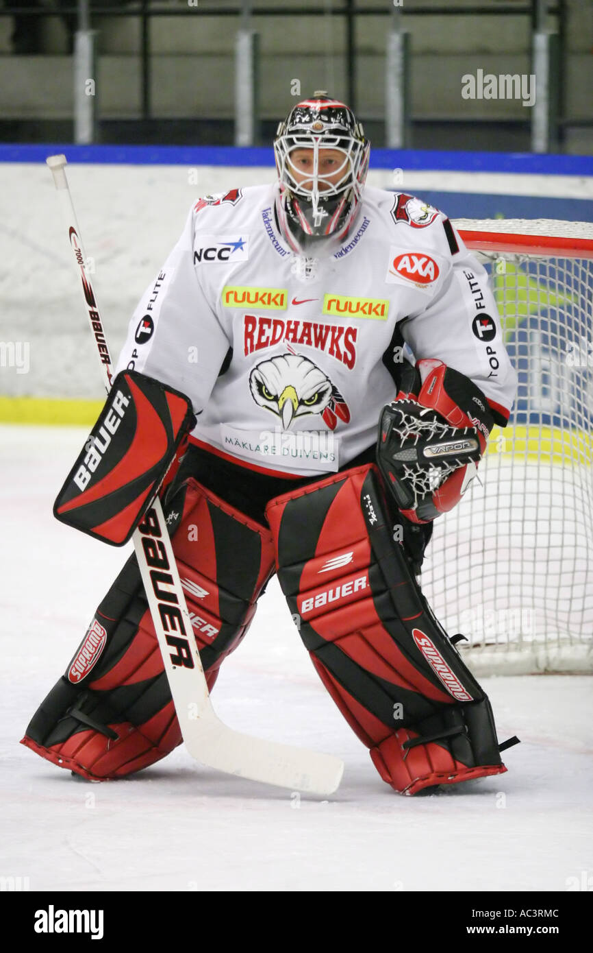 Corey Hirsch, Canadian goalie in Malmo Redhawks, Sweden - Stock Image