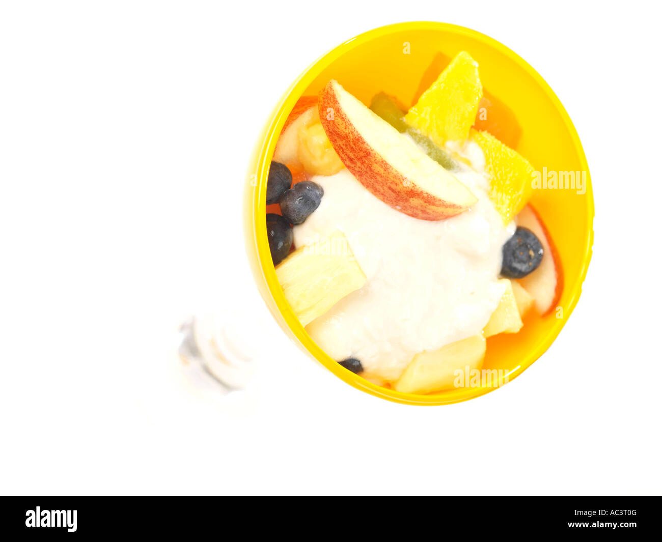 Fruit Salad with Fat Free Yoghurt Stock Photo