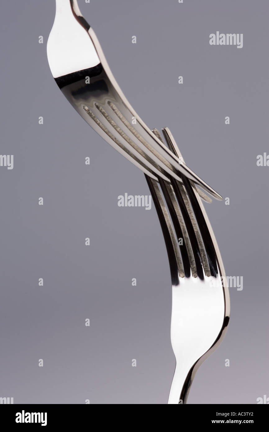 two forks joined - Stock Image