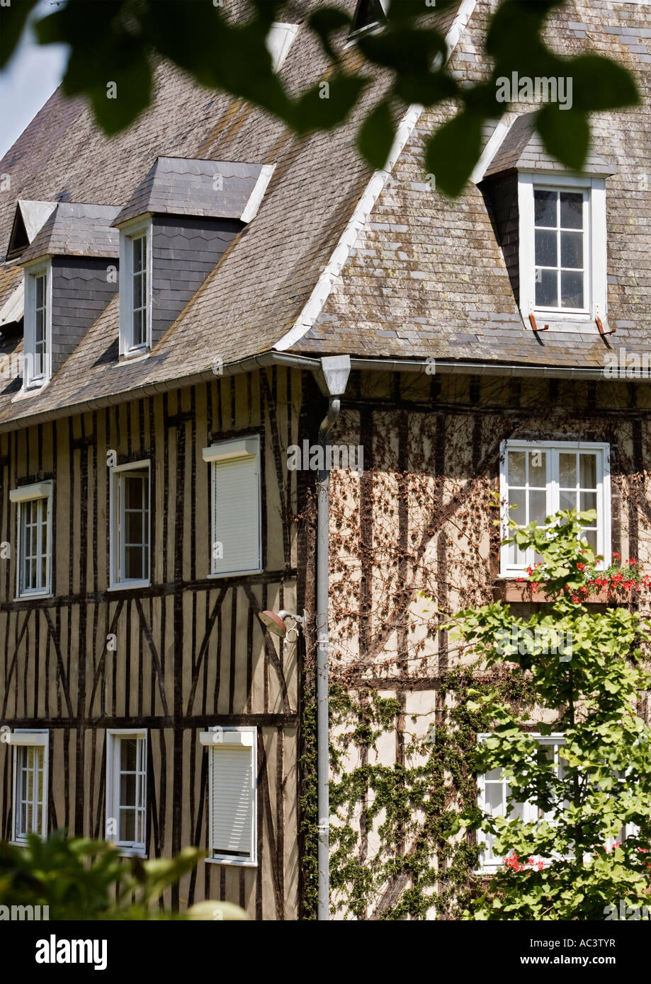 Medieval French manor house with overhanging foliage in foreground in france eu Stock Photo