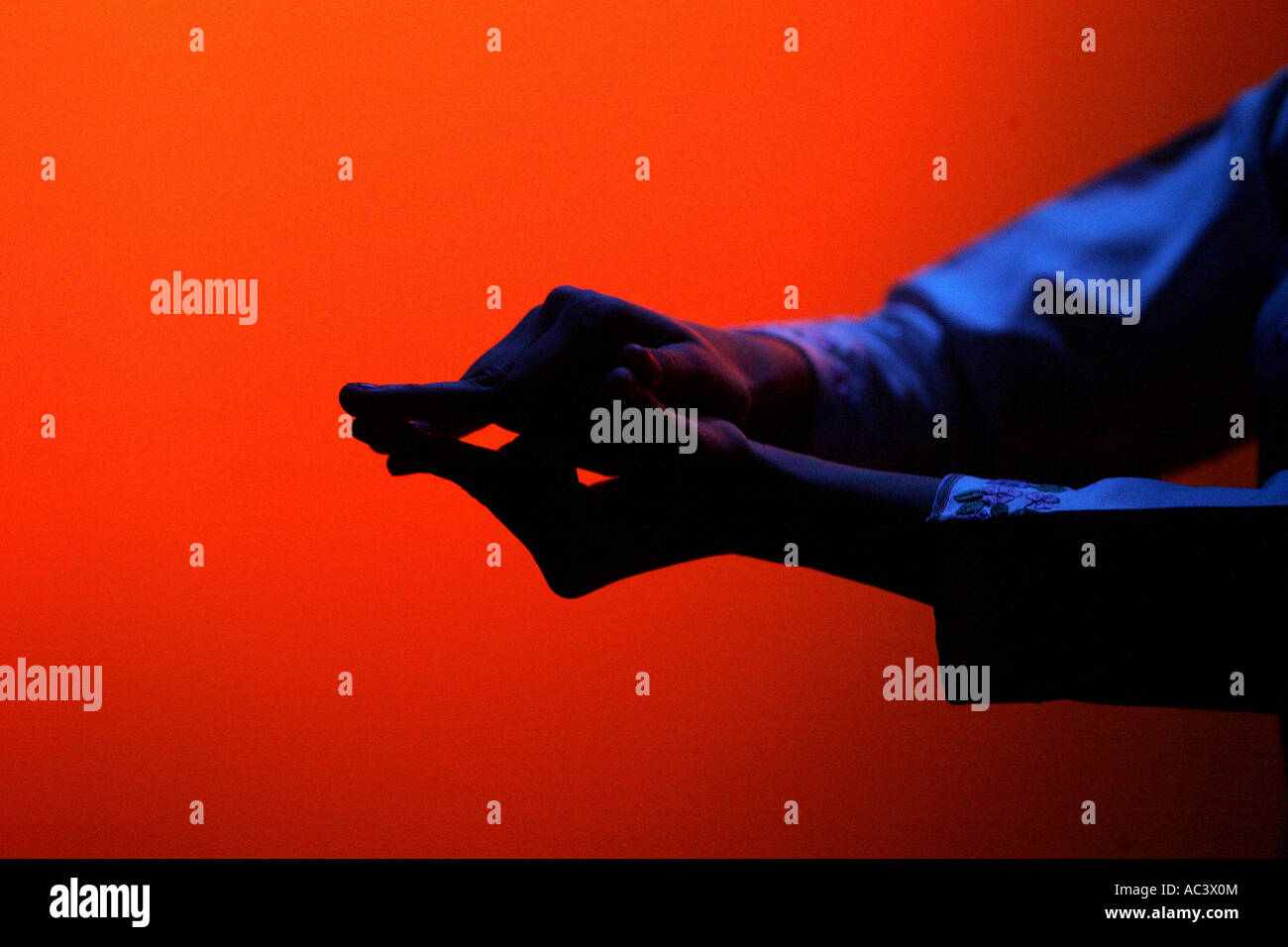 Hand Gesture from a Kuchipudi Performance - Stock Image