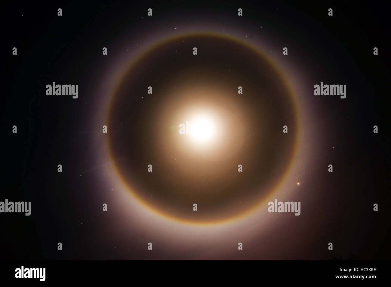 a halo of light around the moon caused by ice crystals in high cirrus clouds - Stock Image
