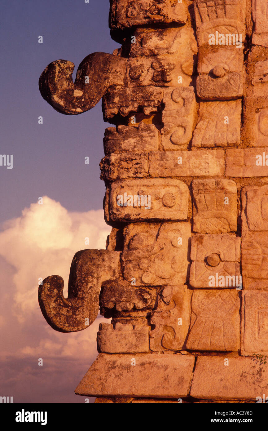 Temple of the Warriors Mayan Indian Ruin of Chichen Itza Yucatan Mexico - Stock Image